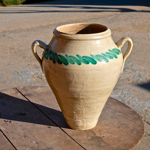 Antique two-handle semi-glazed clay pitcher
