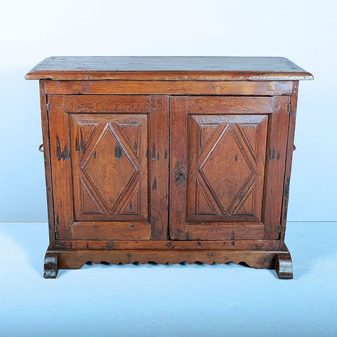 Antique two-door diamond panel credenza, chestnut