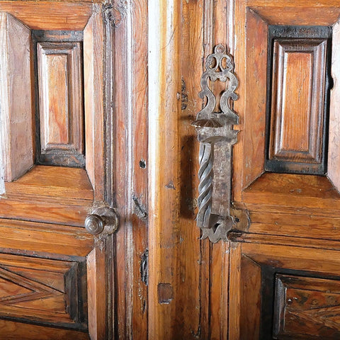 Antique raised panel sacristy cupboard doors, pine