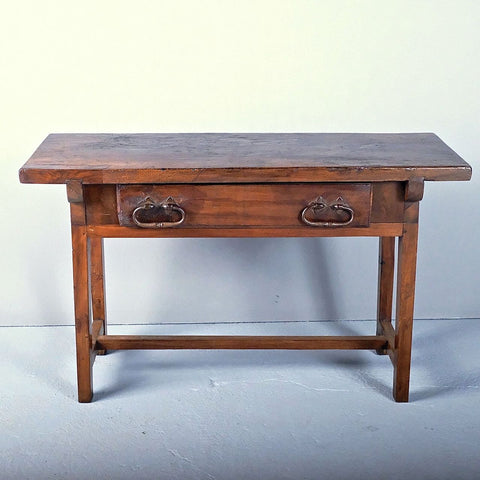 Antique tapered-leg accent table with drawer, walnut