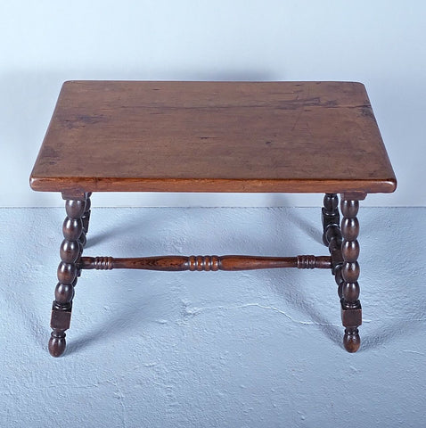 Antique beaded leg accent table, walnut