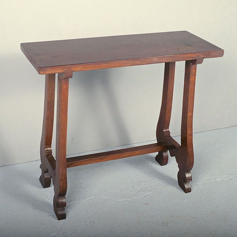 Antique lyre leg walnut accent table
