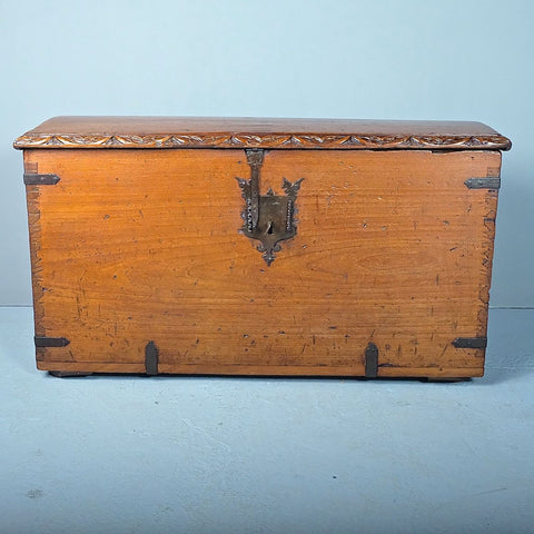 Antique painted Spanish colonial travel trunk