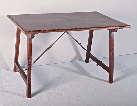 Antique Charles IV writing table with drawer, honey pine