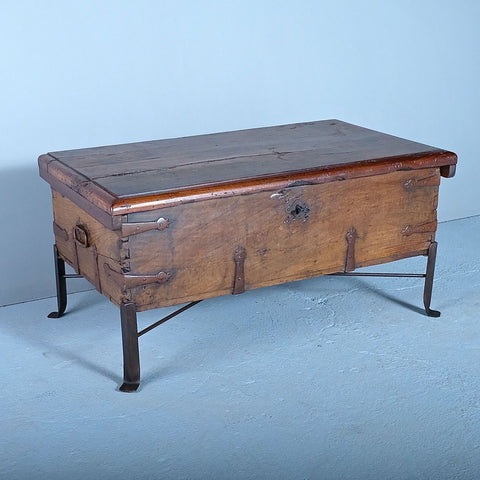 Antique Castilian munitions chest, walnut on iron base