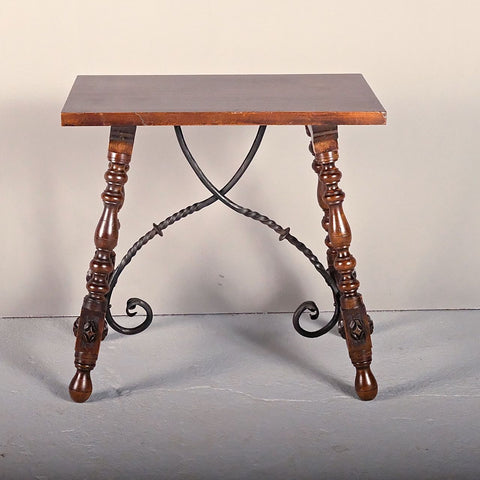 Antique turned trestle-leg table with iron stretchers, beech