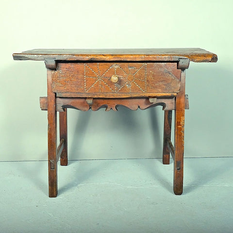 "Antique scalloped skirt ""Fernandine"" table with drawer, walnut and cherry"