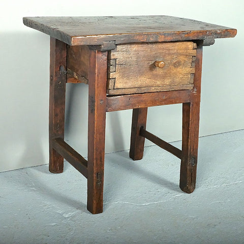 Antique village game dressing table with drawer, walnut & poplar