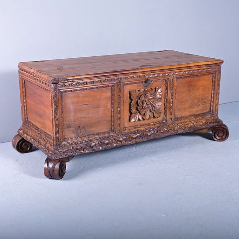 Antique carved mountain dowry chest, pine