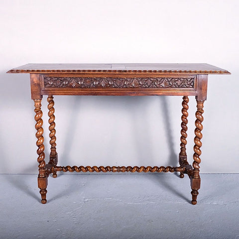 Antique carved Neo-Gothic barley twist console table, walnut