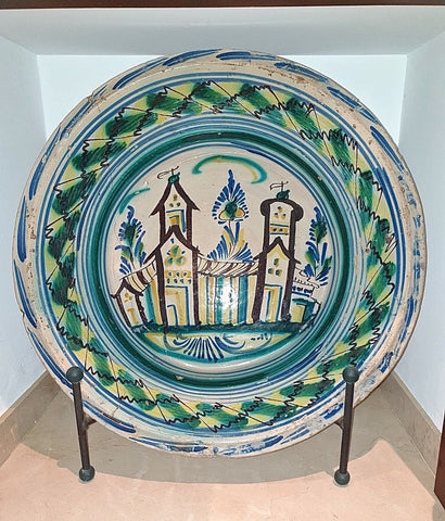 "Antique large painted majolica washbasin, ""Village Towers"""