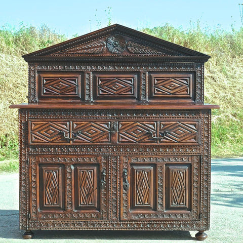 Antique heavily carved one-drawer, two-door sacristy chest, walnut