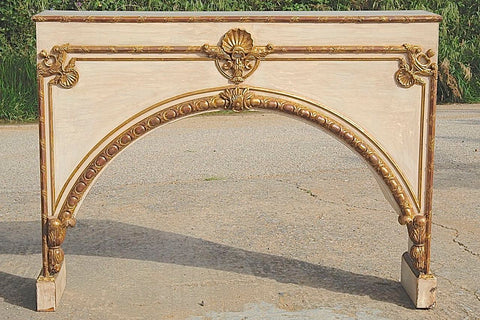 Painted and gilt Empire style console hand-crafted with antique elements