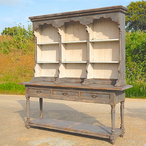 Antique two-piece painted plate rack cabinet