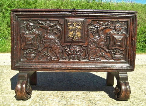 #5514, Carved Plateresque valuables chest, cedar with boxwood inlay