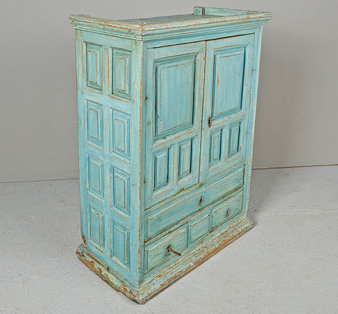 Small two-door, three-drawer antique pine cabinet