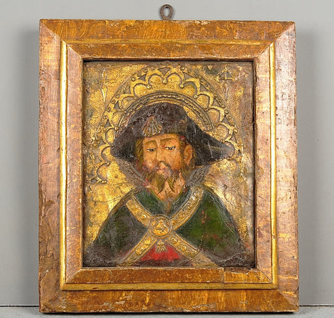 Antique carved, gilt & polychromed retablo fragment
