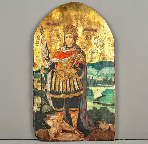 Antique painted panel of St. George