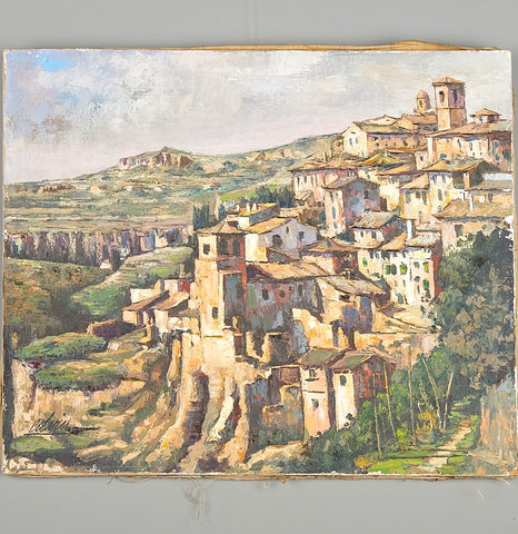 "Antique oil on linen painting, ""Castilian village"" with frame"
