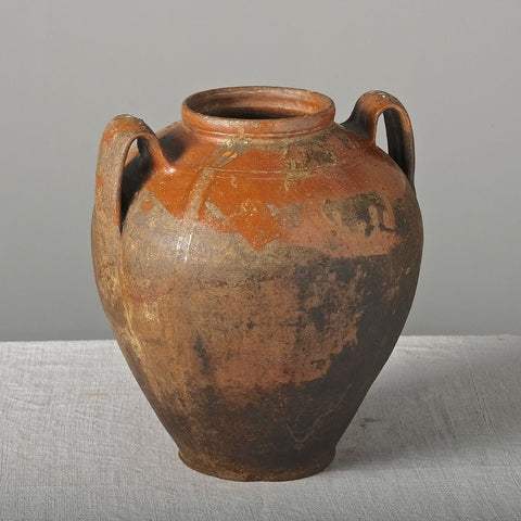 Painted in relief and glazed antique two-handle wide mouth clay jar