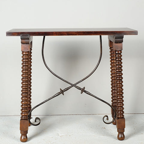 Antique lentil leg console table with iron stretchers, walnut