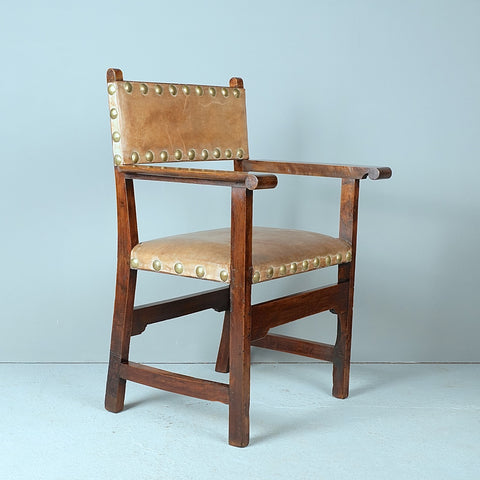 Pair of antique walnut friar's chairs with leather upholstery