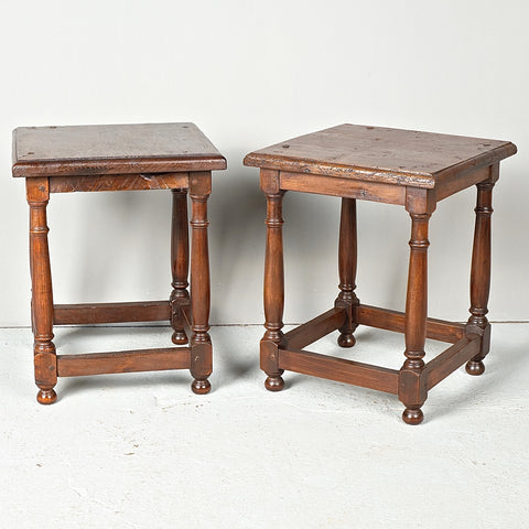 Pair of small square antique accent tables, walnut
