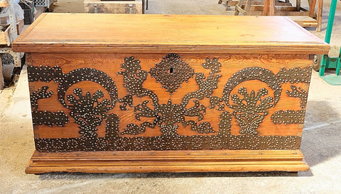 Large antique pine ranch chest with cut-out iron decorations