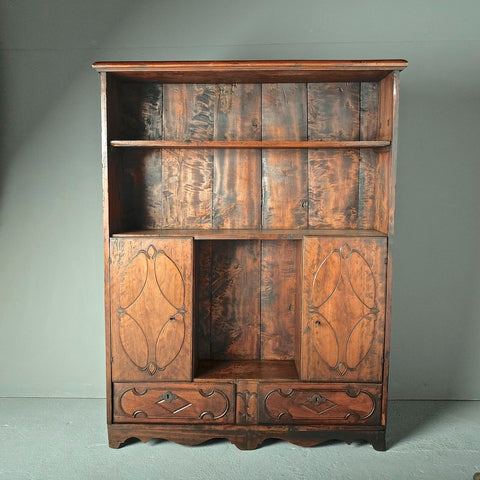 Carved two-door, two-drawer antique apothecary cabinet, cherry