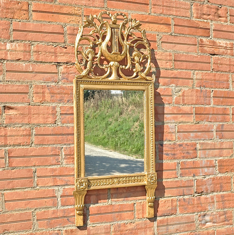 Antique repousse metal tabletop Napoleon III mirror