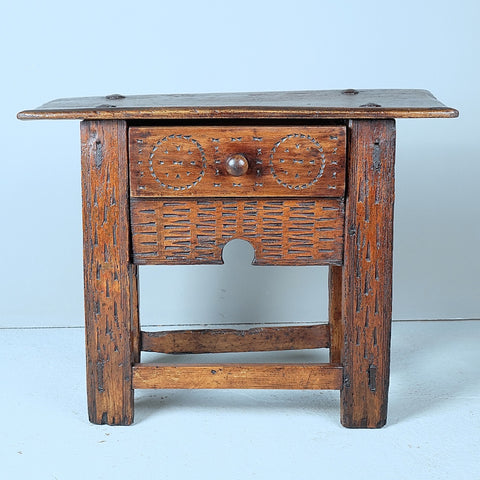 Rustic antique village table with drawer, pine with walnut top