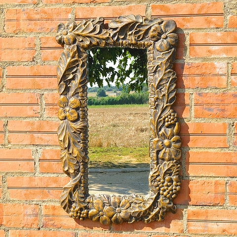 Antique copper coated Arte Nouveau mirror