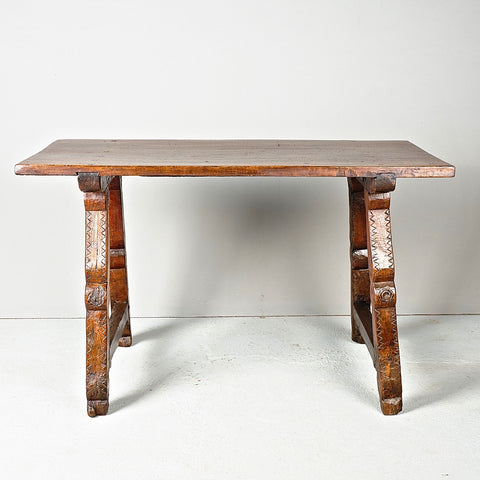 Antique lentil leg console table, walnut