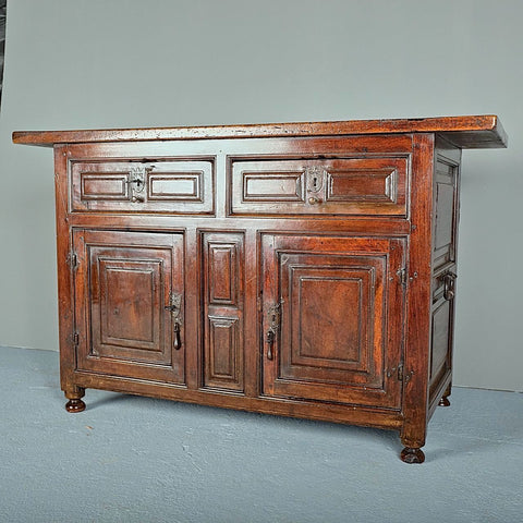 Antique two-door, two-drawer credenza, walnut