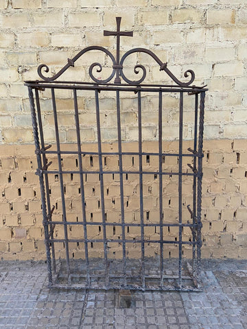 Antique filigree wrought iron Andalusian courtyard gate