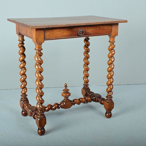 Antique carved octagonal brazier pan table, walnut and oak
