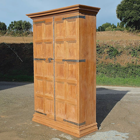 Antique two-door Catalonian armoire with interior strong box, birch and pine