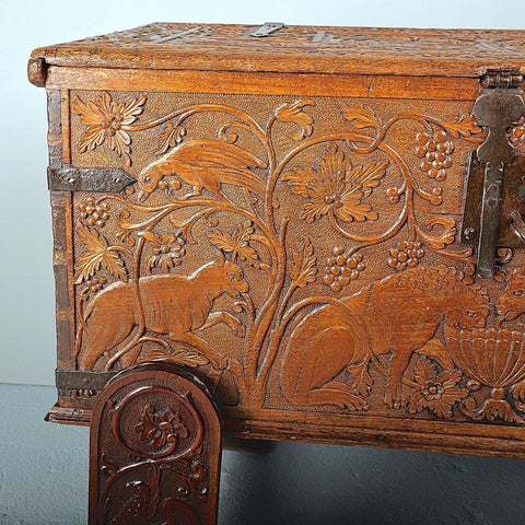 Antique carved Spanish colonial travel trunk, cedar