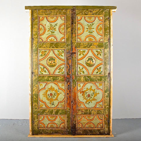 Antique carved single-panel Pyrenees door with raised diamond moldings, honey pine