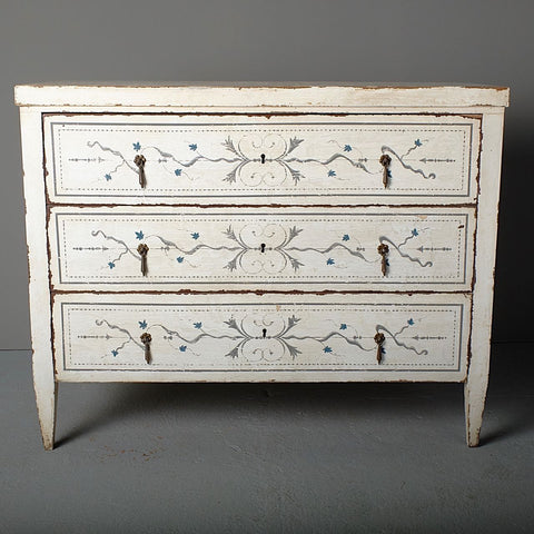 Antique painted three-drawer chest
