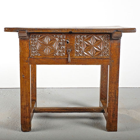 Pair of antique turned leg accent tables with carved drawer, walnut