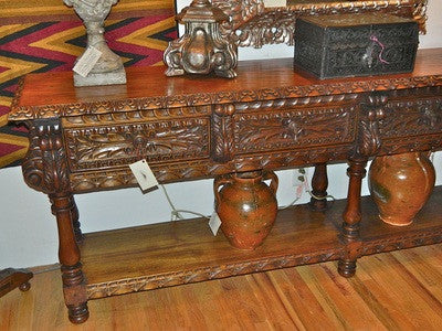"Carved two-drawer ""Burgales"" table"