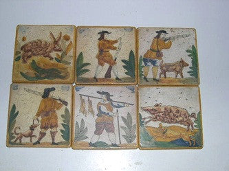 Set of 6 Hand-Painted Catalonian Hunt Scene Tiles