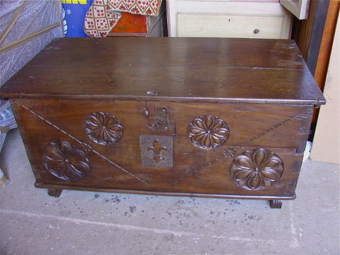"Antique carved and inlaid marriage chest (""cassone""), walnut with boxwood inlay"