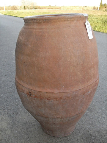 Antique Spanish semi-ribbed terracotta water jar