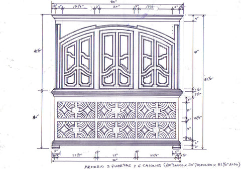 Drawing for Custom Antique Reproduction Based on Client's Desire for Long Bench