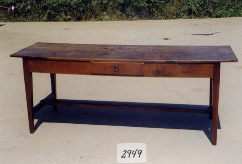 #5943, Rustic trestle-leg village table, pine