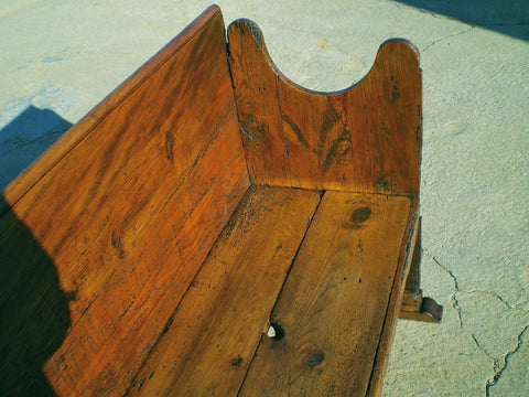 Antique Pyrenees hearth-side bench, pine