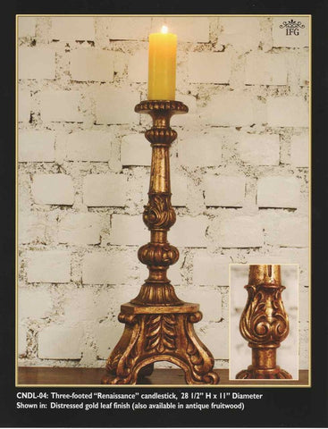 Reproduction Carved and Gilt Three-footed Renaissance candlestick