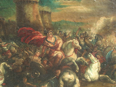 "Antique oil painting on canvas, ""Battle of Naples"""